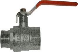 Ball Valve - Red Steel Long Handle - Male BSPP x Female BSPP